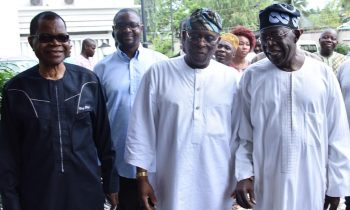National Leader, All Progressives Congress (APC), Asiwaju Bola Tinubu; former Governor of Ogun State, Aremo Olusegun Osoba and National Vice Chairman, South-West, APC, Chief Pius Akinyelure during the meeting of the South West APC Leaders at Aremo's residence in Bourdillon, Ikoyi, Lagos