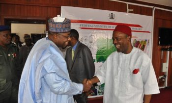 L-R;Governor Abubakar and Federal Minister of Science and Technology - Mr. Ogbonnaya Onu.