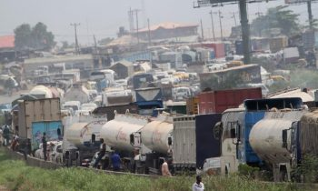 A  petroleum tanker with full load of PMS fell on Lagos- Ibadan express way causing heavy gridlock on the high way.