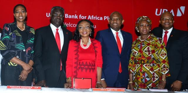 Pix of 54th AGM – 13: Director, UBA Plc, Mrs. Onari Duke; Group Managing Director, UBA Plc Mr. Phillips Oduoza; Director, UBA Plc, Mrs Rose Okwechime; Chairman, United Bank for Africa Plc, Mr. Tony Elumelu; Director, Mrs Foluke Abdulrasaq, and Group Managing Director Designate, Mr. Kennedy Uzoka at  the 54th Annual General Meeting  of the Bank held in Lagos on Friday