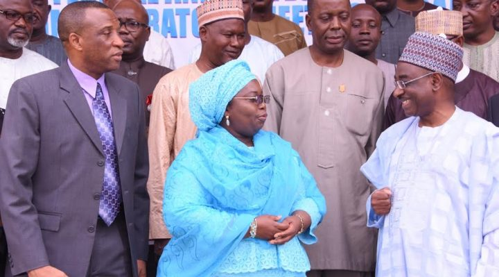 agos State Deputy Governor, Dr. (Mrs.) Oluranti Adebule (middle), flanked by Permanent Secretary, Special Services Office, Office of the Secretary to the Government of the Federation, Amb. Aminu Nebegu (right) and Secretary to the State Government,  Mr. Tunji Bello (left) during the Federal and States Security Administrators' meeting at the Adeyemi Bero Auditorium, Alausa, Ikeja
