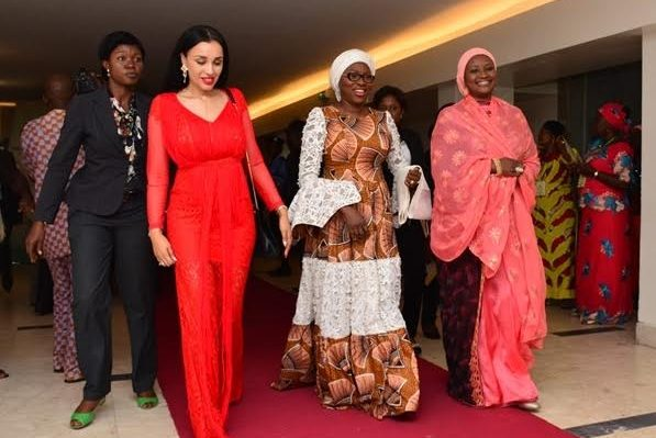 Wife of Lagos State Governor & Chairman, Committee of Wives of Lagos State Officials (COWLSO), Mrs. Bolanle Ambode (middle), with Mrs. Iara Oshiomhole (left) and Dr. Zainab Bagudu (right) during the closing ceremony of the 16th Annual National Women Conference organized by COWLSO, at the Convention Centre, Eko Hotel & Suites on Wednesday, October 26, 2016.