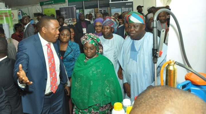Lagos State Governor, Mr. Akinwunmi Ambode, with Deputy Governor, Dr. (Mrs.) Oluranti Adebule, at the exhibition stands being conducted round by the Special Adviser on Food Security, Mr. Sanni Ganiyu Okanlawo during the Lagos Food Security Summit and Exhibition at the Airport Hotel, Ikeja, on Thursday, November 10, 2016.