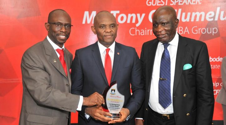 Vice Chancellor, Lagos State University(LASU), Professor Olanrewaju Adigun Fagbohun ; Guest Speaker and Chairman of UBA Group, Mr. Tony Elumelu; and Chancellor, LASU and Chairman of the Lecture, Hon. Justice George Oguntade,  at the 1st Distinguished Lecture of the university  delivered by Tony Elumelu, titled: Entrepreneurship: The Challenges and Opportunities for Nigeria's Future Leaders, held at the School Campus in Ojo Lagos.
