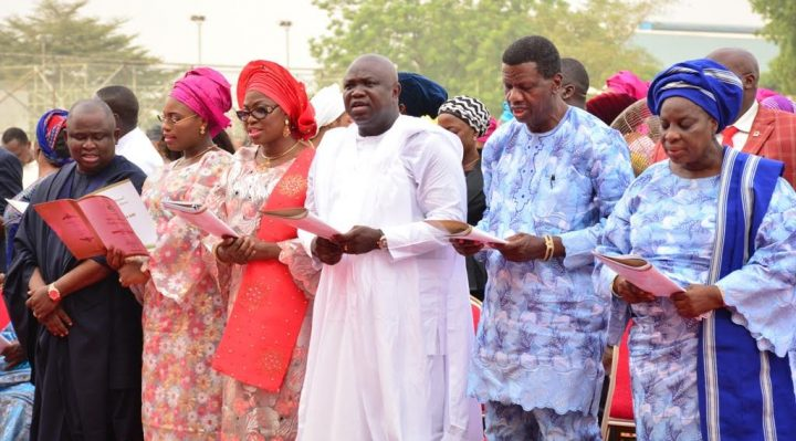 Lagos State Governor, Mr. Akinwunmi Ambode; General Overseer, Redeemed Christian Church of God (RCCG) Worldwide, Pastor Enoch Adeboye; wife of Lagos State Governor, Mrs. Bolanle Ambode; wife of the General Overseer, Redeemed Christian Church of God (RCCG Worldwide, Pastor (Mrs) Folu Adeboye during the Y2017 Annual Thanksgiving Service at the Lagos House, Ikeja, on Sunday, January 8, 2017.