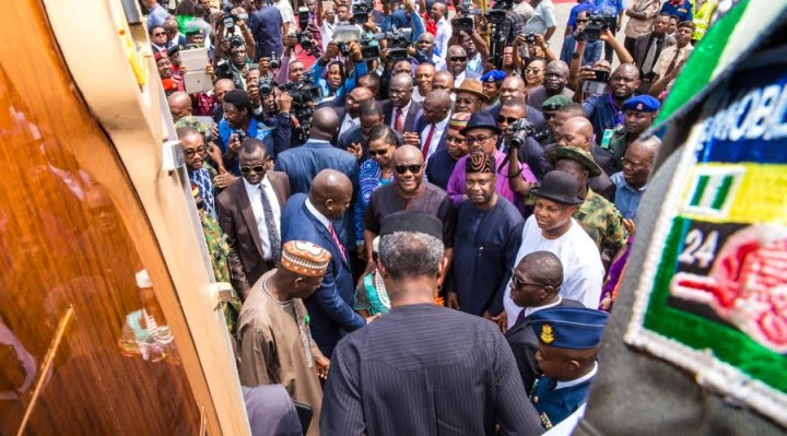 Ag President Osinbajo arrives Rivers State today to continue the ongoing FG's Niger Delta dialogue while Gov. Ezenwo Wike of Rivers State and a huge, impressive crowd welcomes him at the PortHarcourt airport