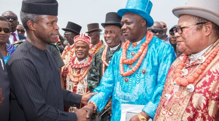 Ag President Osinbajo was received by the chiefs and elders of Rivers State on his arrival at the PortHarcourt airport to continue FG's Niger Delta dialogue.