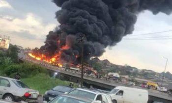 Otedola bridge crash : Fuel Laden Tanker Explodes, 54 Vehicles Engulfed, 9 Fatalities Recorded .